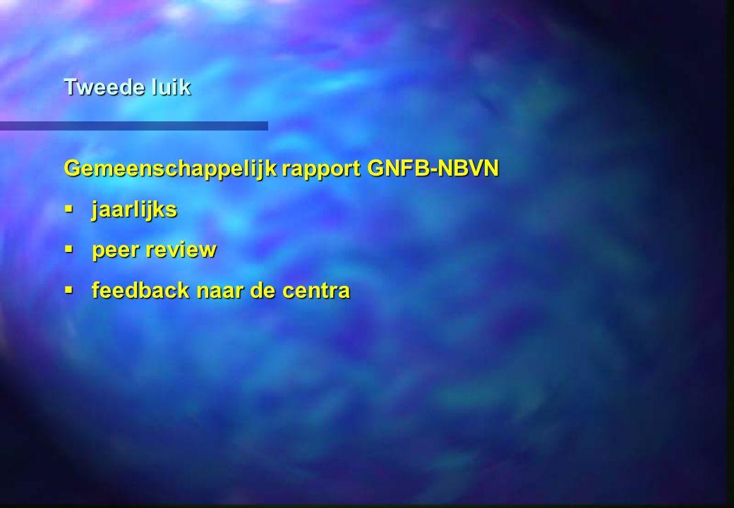Tweede luik Gemeenschappelijk rapport GNFB-NBVN jaarlijks peer review feedback naar de centra
