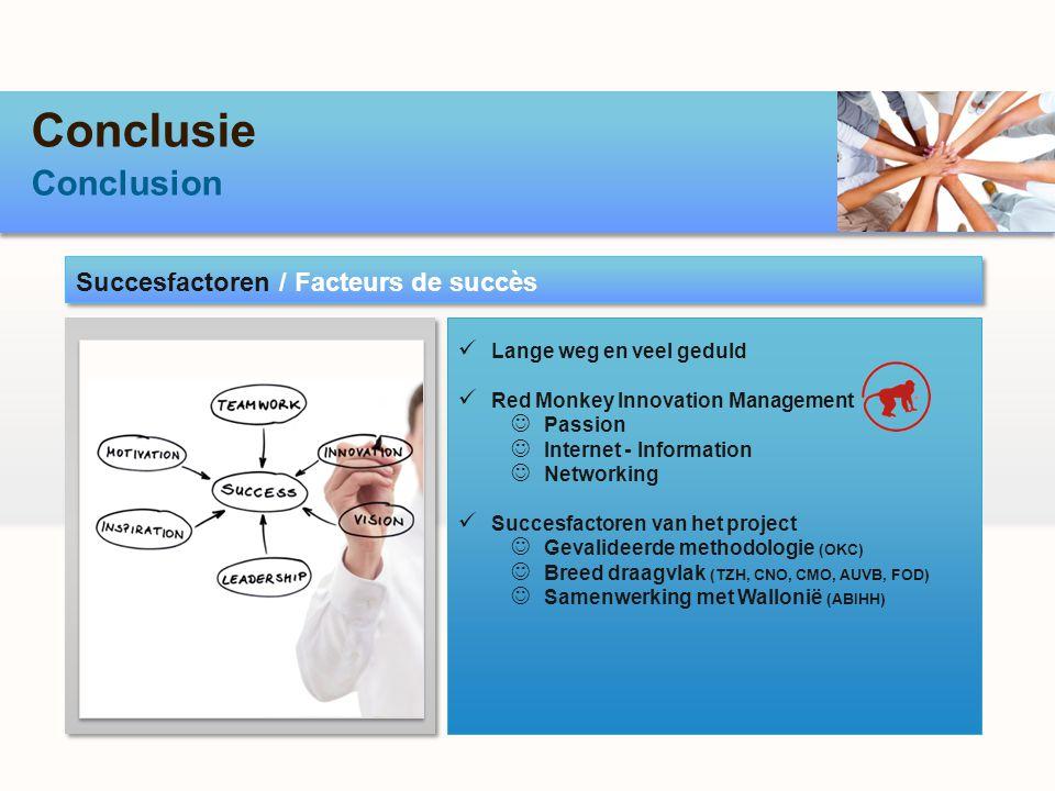 Conclusie Conclusion Succesfactoren / Facteurs de succès