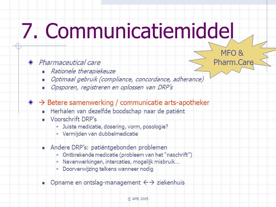 7. Communicatiemiddel MFO & Pharm.Care Pharmaceutical care