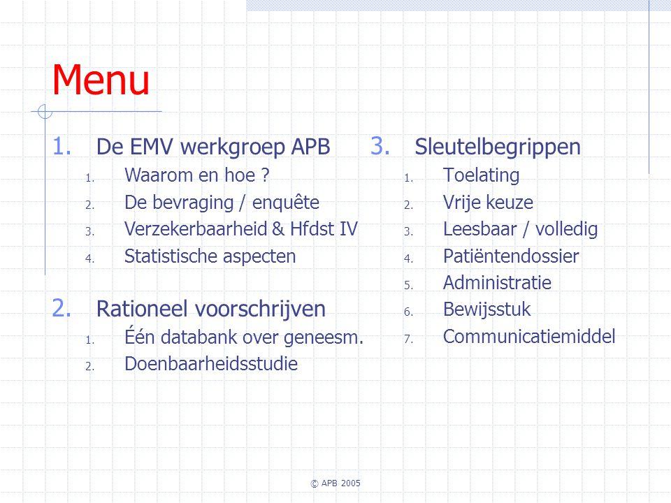 Menu De EMV werkgroep APB Rationeel voorschrijven Sleutelbegrippen