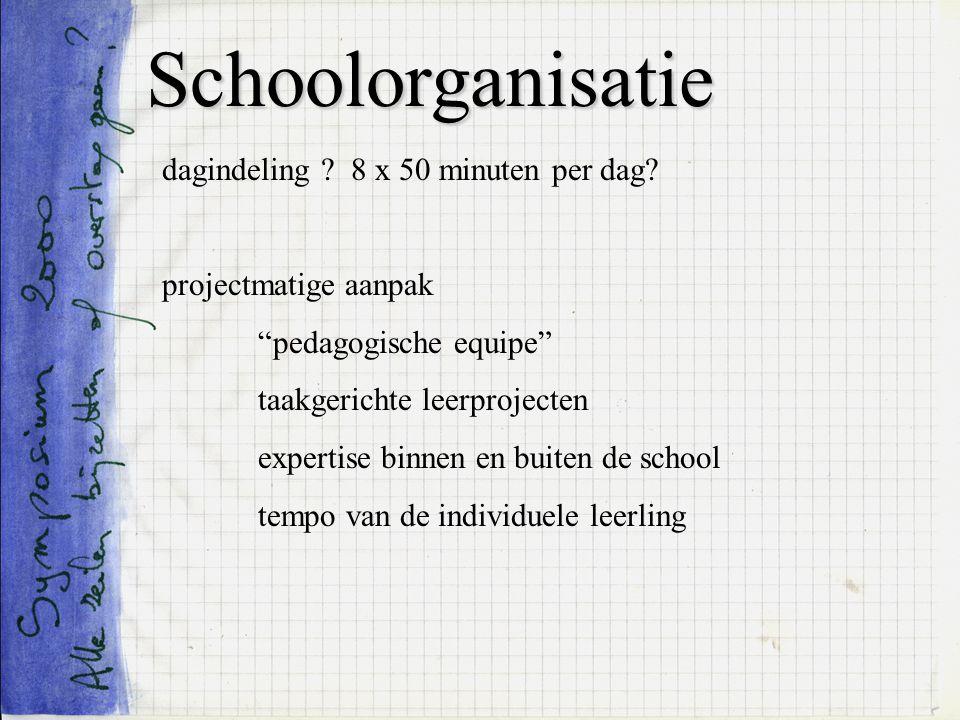 Schoolorganisatie dagindeling 8 x 50 minuten per dag