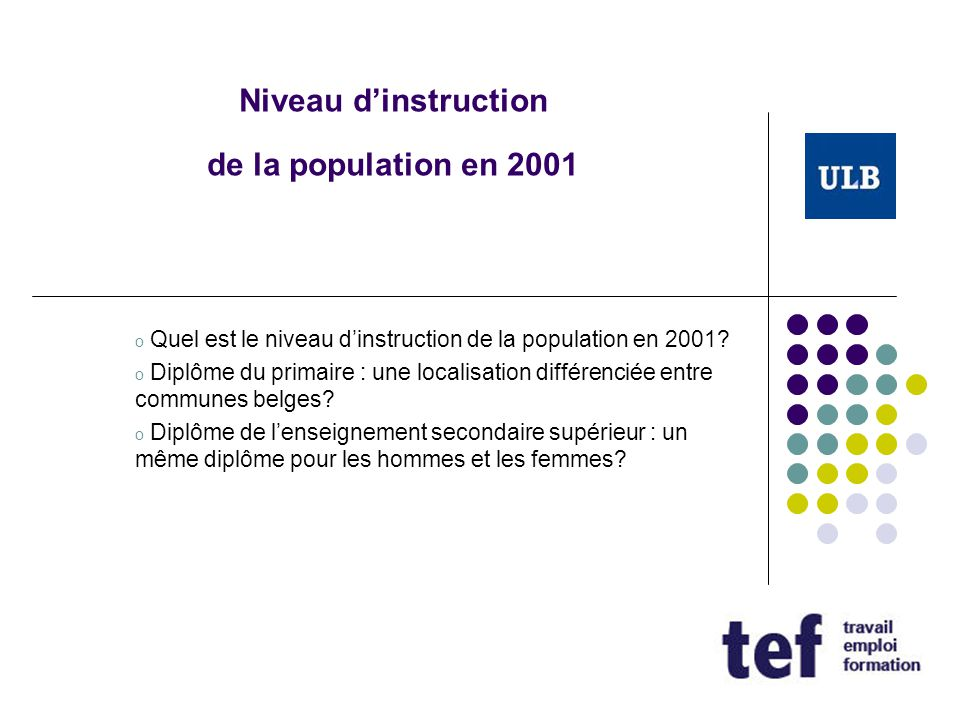 Niveau d'instruction de la population en 2001
