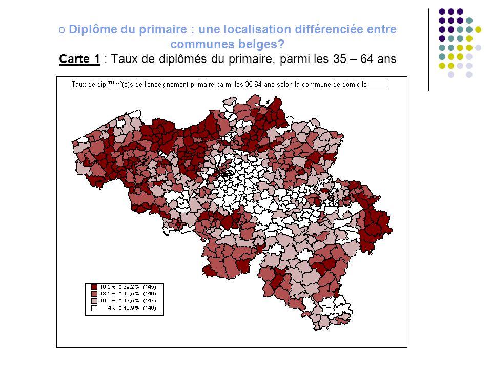 Diplôme du primaire : une localisation différenciée entre communes belges Carte 1 : Taux de diplômés du primaire, parmi les 35 – 64 ans