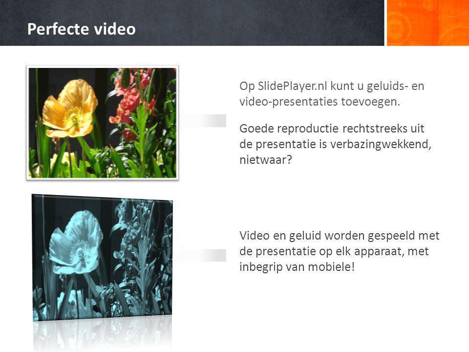 Perfecte video Op SlidePlayer.nl kunt u geluids- en video-presentaties toevoegen.