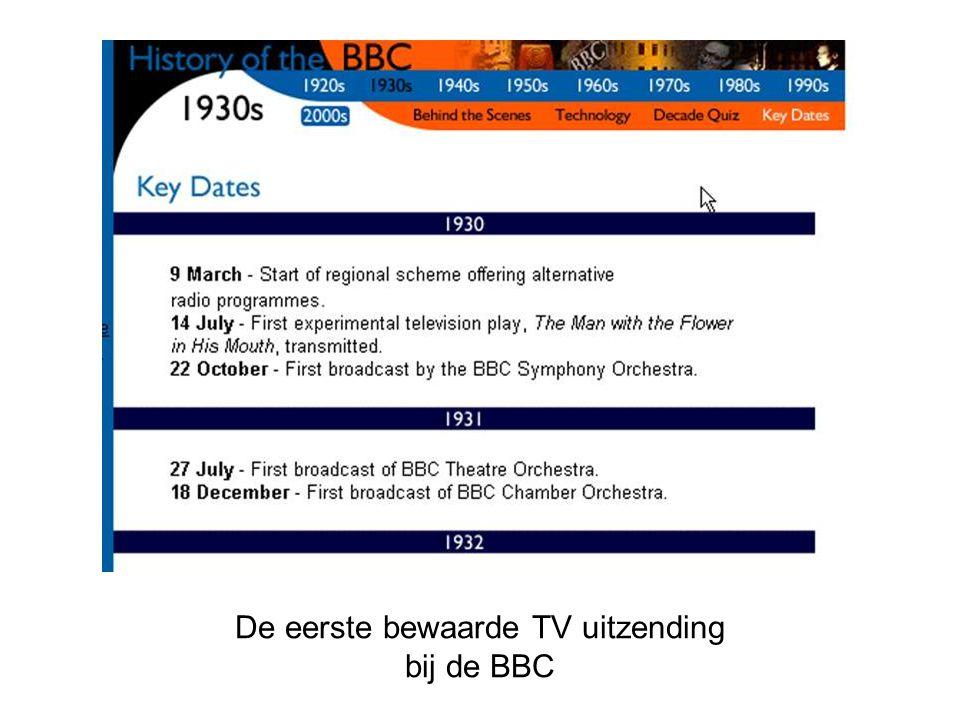 De eerste bewaarde TV uitzending bij de BBC