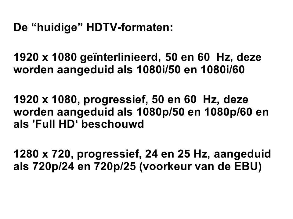 De huidige HDTV-formaten: