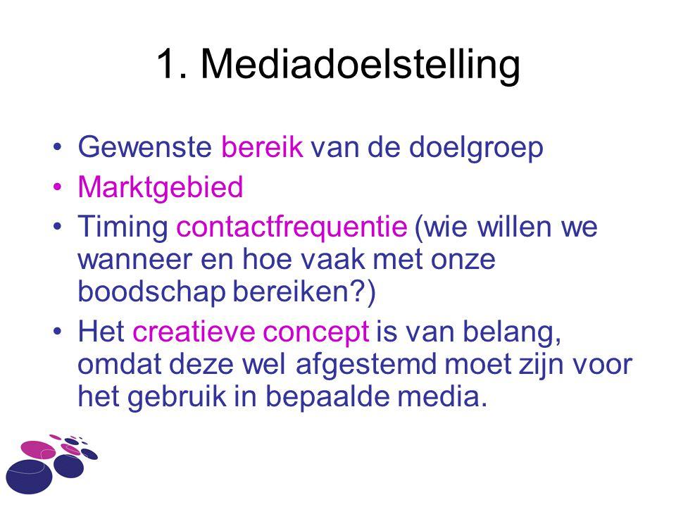 1. Mediadoelstelling Gewenste bereik van de doelgroep Marktgebied
