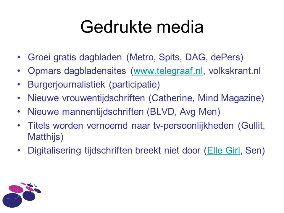 Gedrukte media Groei gratis dagbladen (Metro, Spits, DAG, dePers)