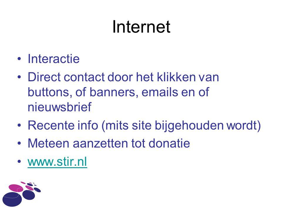 Internet Interactie. Direct contact door het klikken van buttons, of banners, emails en of nieuwsbrief.