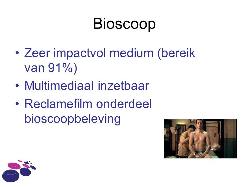 Bioscoop Zeer impactvol medium (bereik van 91%) Multimediaal inzetbaar