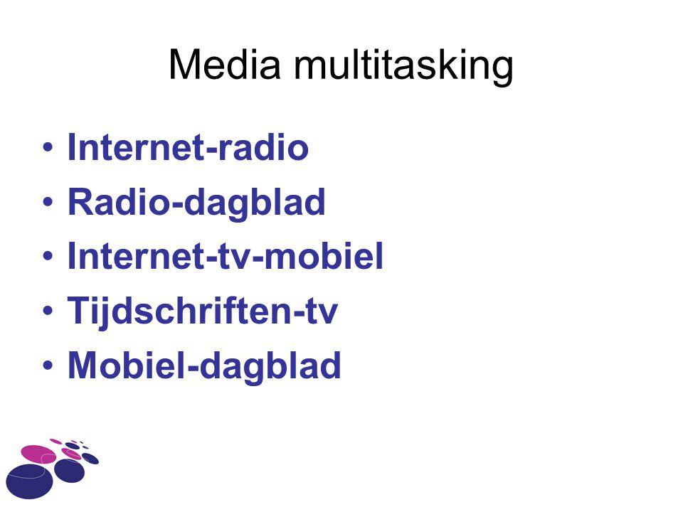 Media multitasking Internet-radio Radio-dagblad Internet-tv-mobiel
