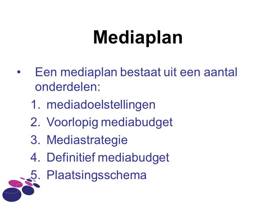 Mediaplan Een mediaplan bestaat uit een aantal onderdelen: