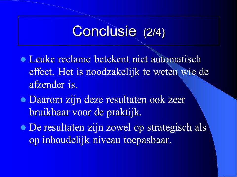 Conclusie (2/4) Leuke reclame betekent niet automatisch effect. Het is noodzakelijk te weten wie de afzender is.
