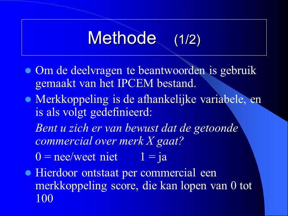 Methode (1/2) Om de deelvragen te beantwoorden is gebruik gemaakt van het IPCEM bestand.