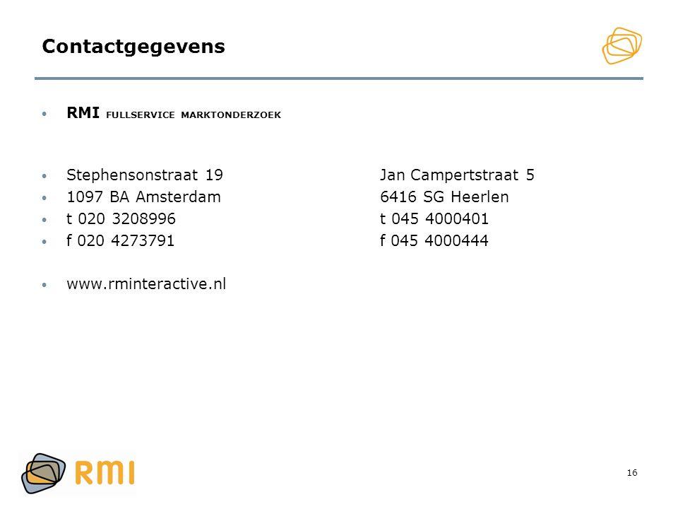Contactgegevens RMI FULLSERVICE MARKTONDERZOEK