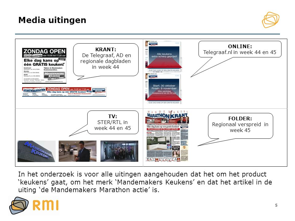 Media uitingen ONLINE: Telegraaf.nl in week 44 en 45. KRANT: De Telegraaf, AD en regionale dagbladen in week 44.