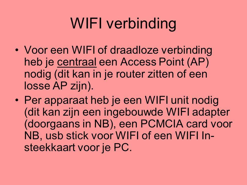 WIFI verbinding Voor een WIFI of draadloze verbinding heb je centraal een Access Point (AP) nodig (dit kan in je router zitten of een losse AP zijn).