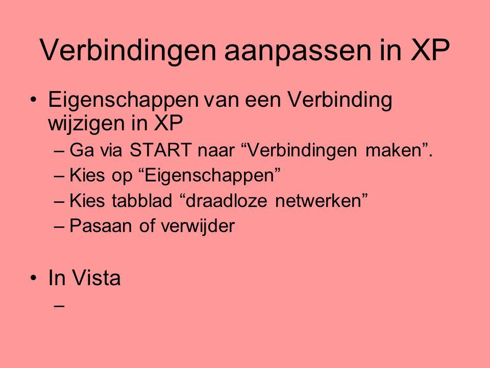 Verbindingen aanpassen in XP