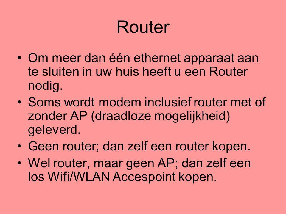 Router Om meer dan één ethernet apparaat aan te sluiten in uw huis heeft u een Router nodig.