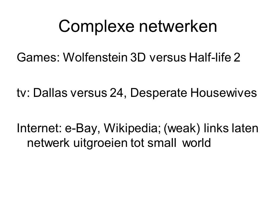 Complexe netwerken Games: Wolfenstein 3D versus Half-life 2