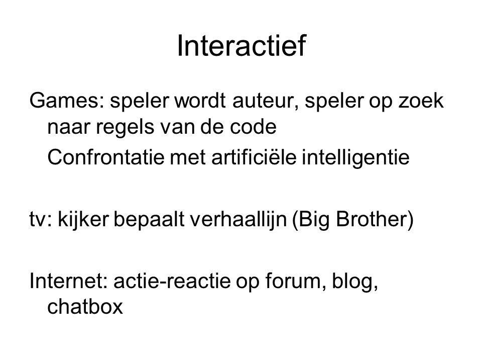 Interactief Games: speler wordt auteur, speler op zoek naar regels van de code. Confrontatie met artificiële intelligentie.