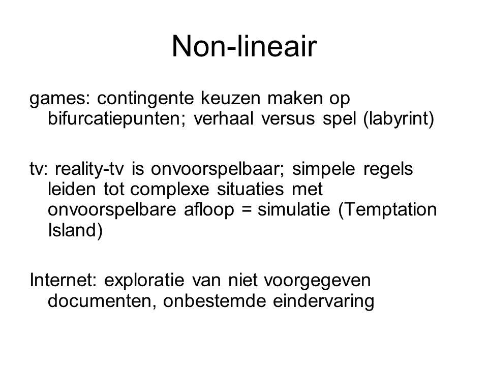 Non-lineair games: contingente keuzen maken op bifurcatiepunten; verhaal versus spel (labyrint)