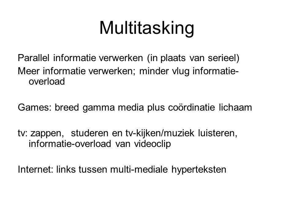 Multitasking Parallel informatie verwerken (in plaats van serieel)