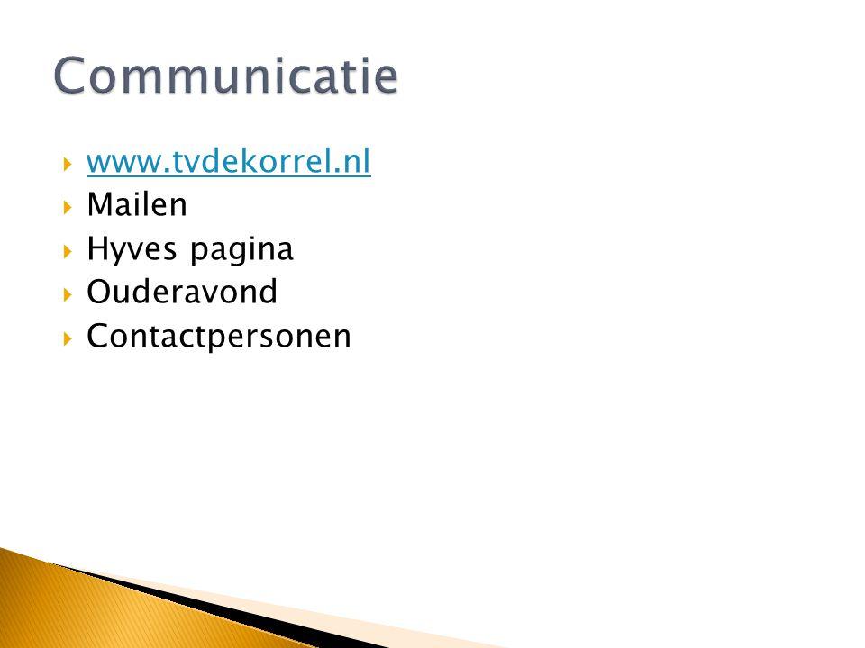 Communicatie www.tvdekorrel.nl Mailen Hyves pagina Ouderavond