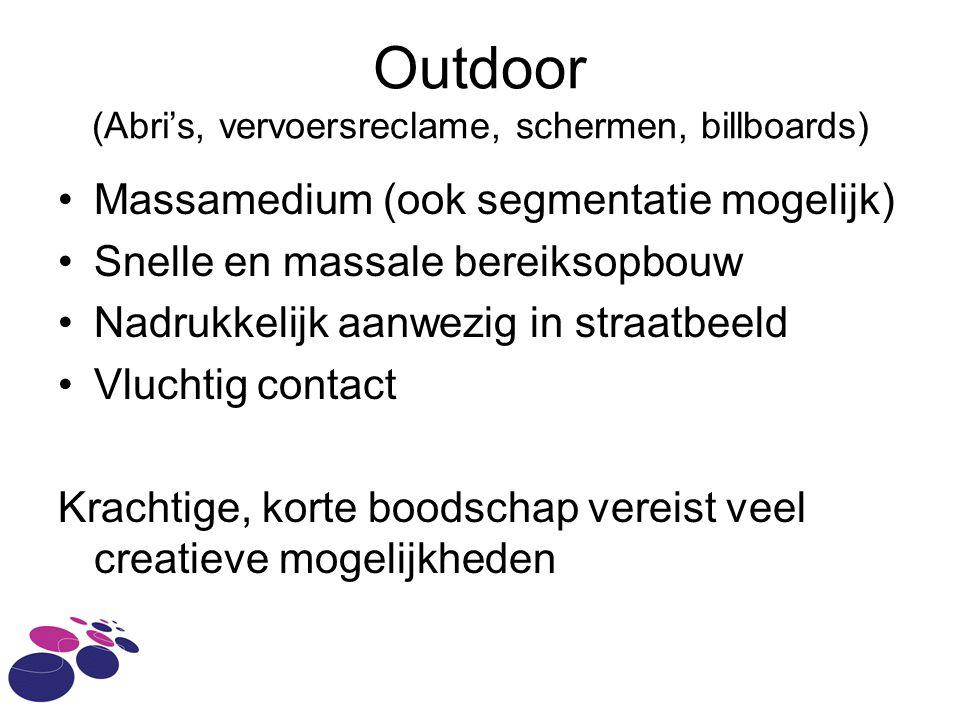 Outdoor (Abri's, vervoersreclame, schermen, billboards)
