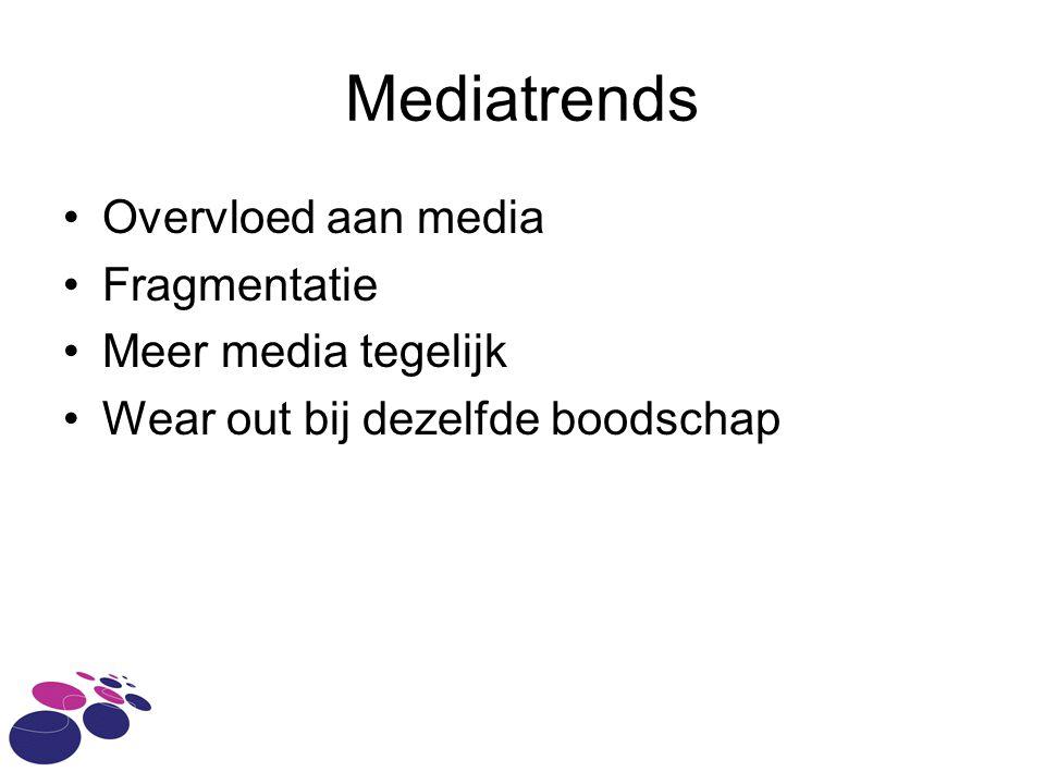 Mediatrends Overvloed aan media Fragmentatie Meer media tegelijk