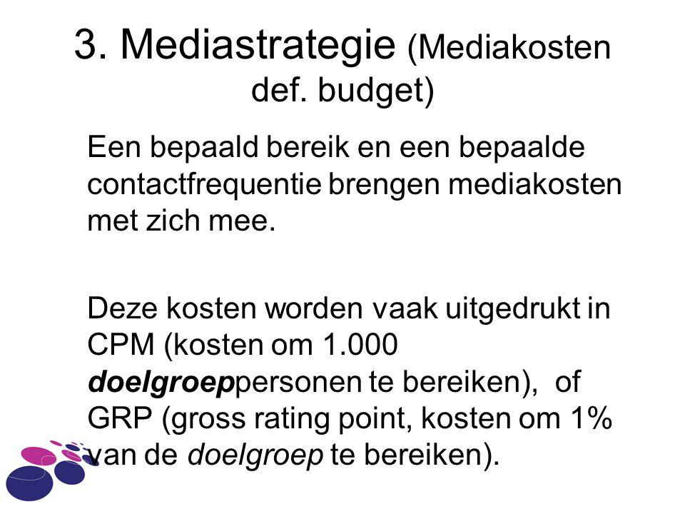 3. Mediastrategie (Mediakosten def. budget)