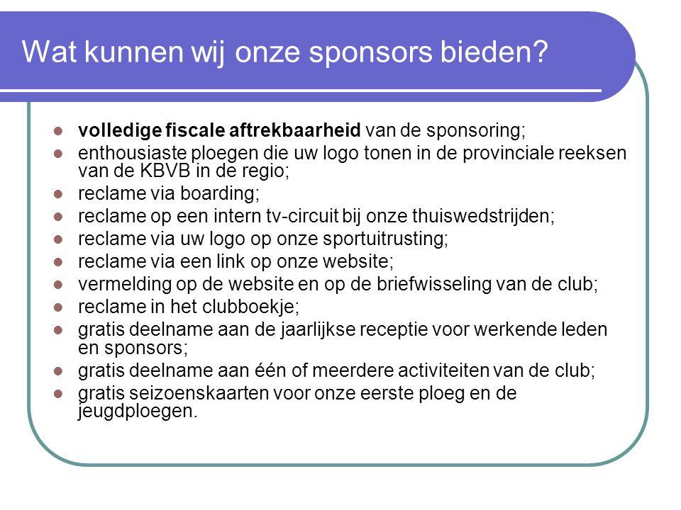 Wat kunnen wij onze sponsors bieden