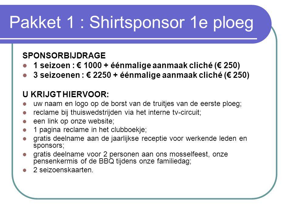 Pakket 1 : Shirtsponsor 1e ploeg