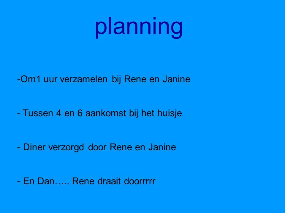 planning Om1 uur verzamelen bij Rene en Janine