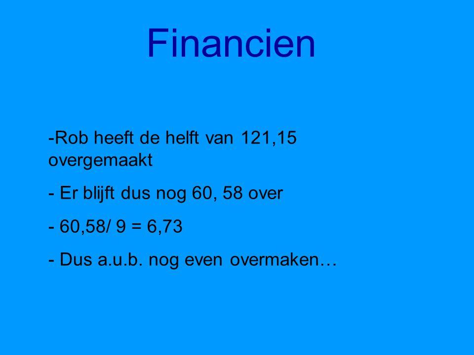 Financien Rob heeft de helft van 121,15 overgemaakt