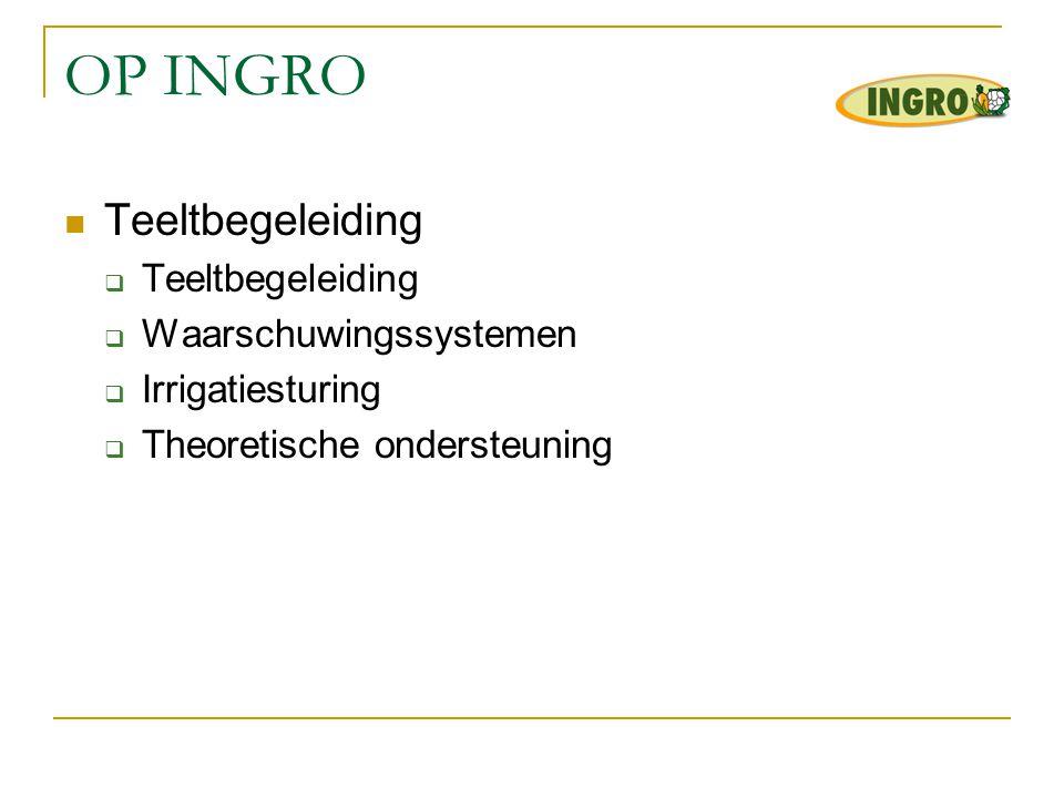 OP INGRO Teeltbegeleiding Waarschuwingssystemen Irrigatiesturing