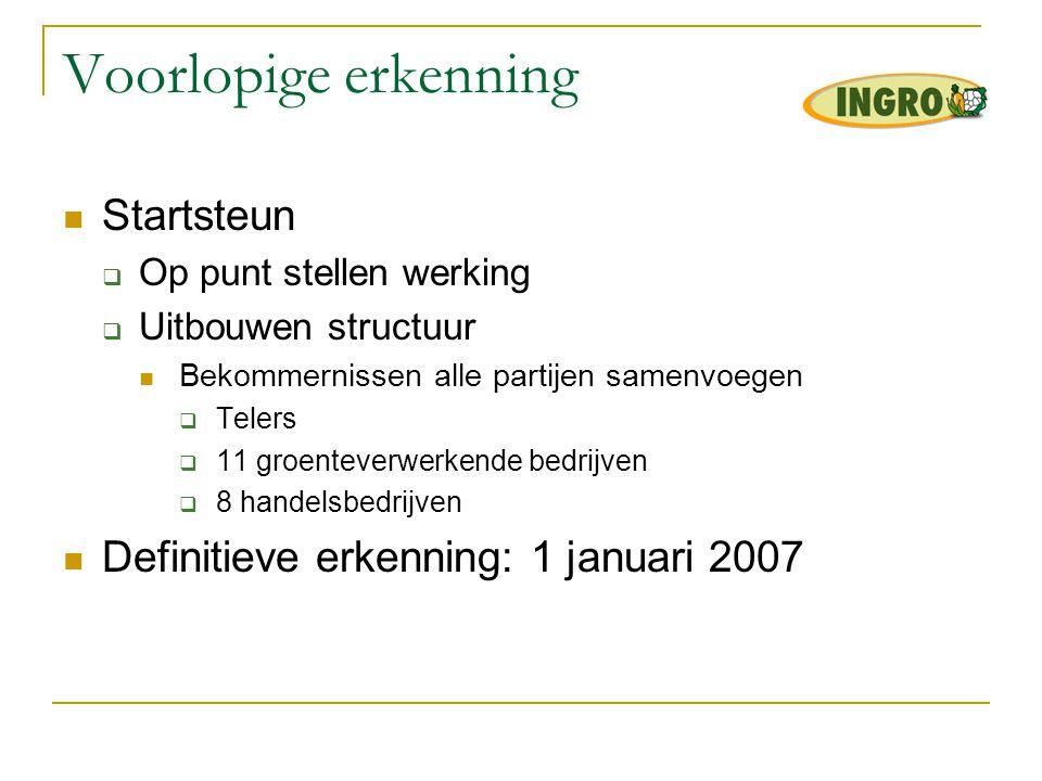 Voorlopige erkenning Startsteun Definitieve erkenning: 1 januari 2007