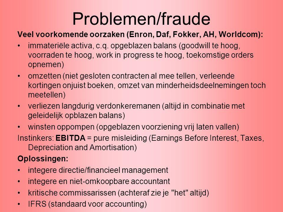 Problemen/fraude Veel voorkomende oorzaken (Enron, Daf, Fokker, AH, Worldcom):