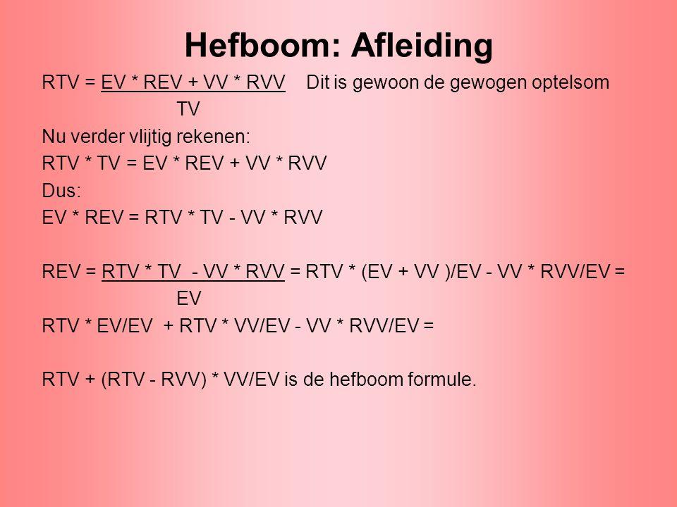 Hefboom: Afleiding RTV = EV * REV + VV * RVV Dit is gewoon de gewogen optelsom. TV. Nu verder vlijtig rekenen: