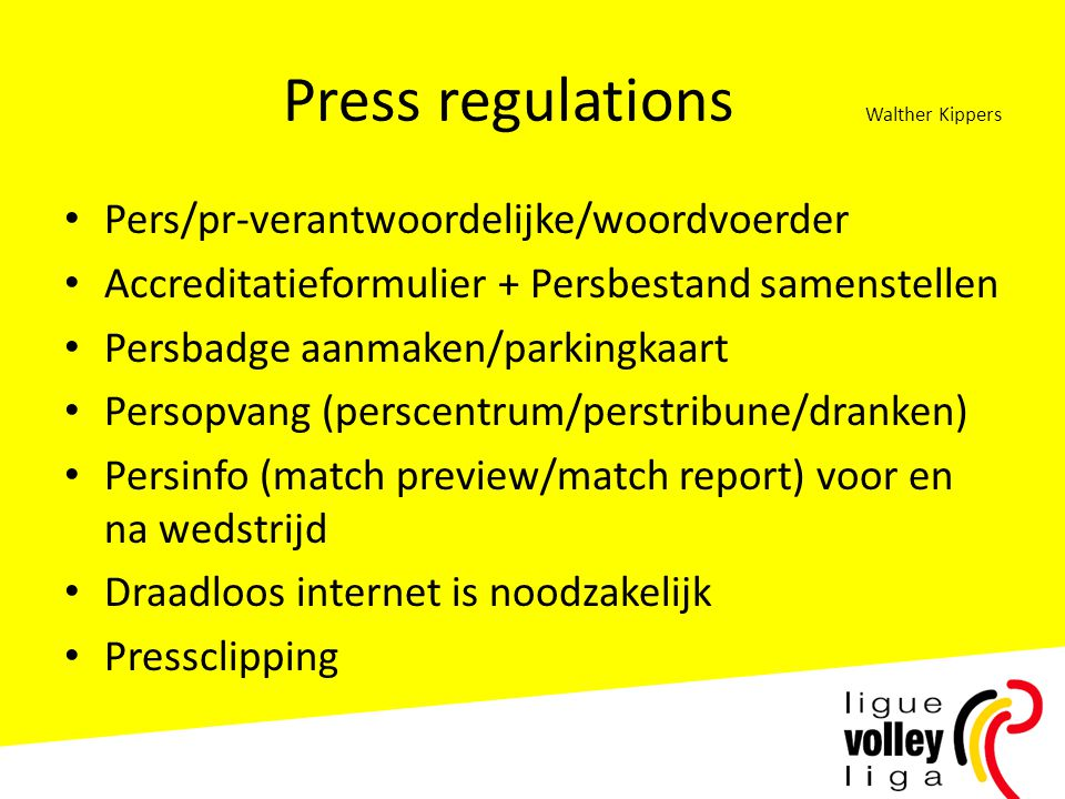Press regulations Walther Kippers