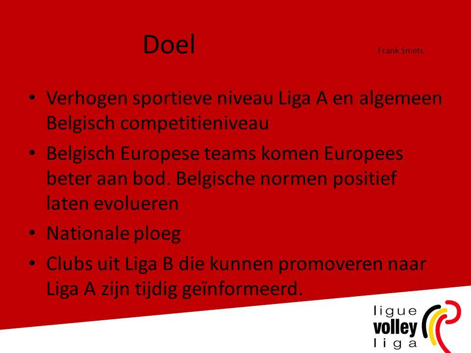 Doel Frank Smets Verhogen sportieve niveau Liga A en algemeen Belgisch competitieniveau.