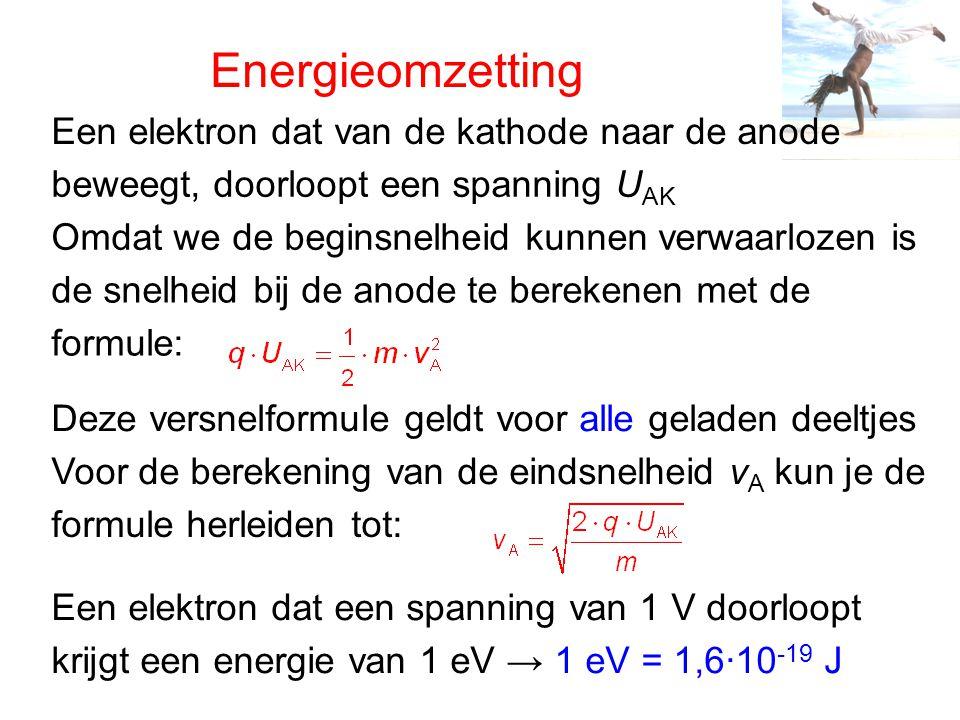 Energieomzetting Een elektron dat van de kathode naar de anode