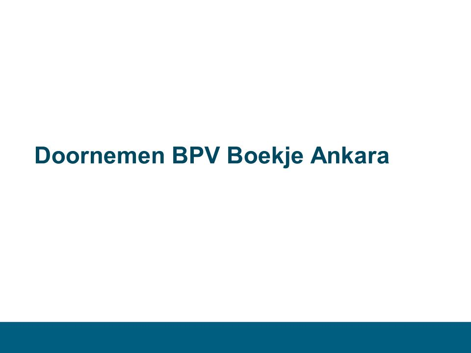 Doornemen BPV Boekje Ankara
