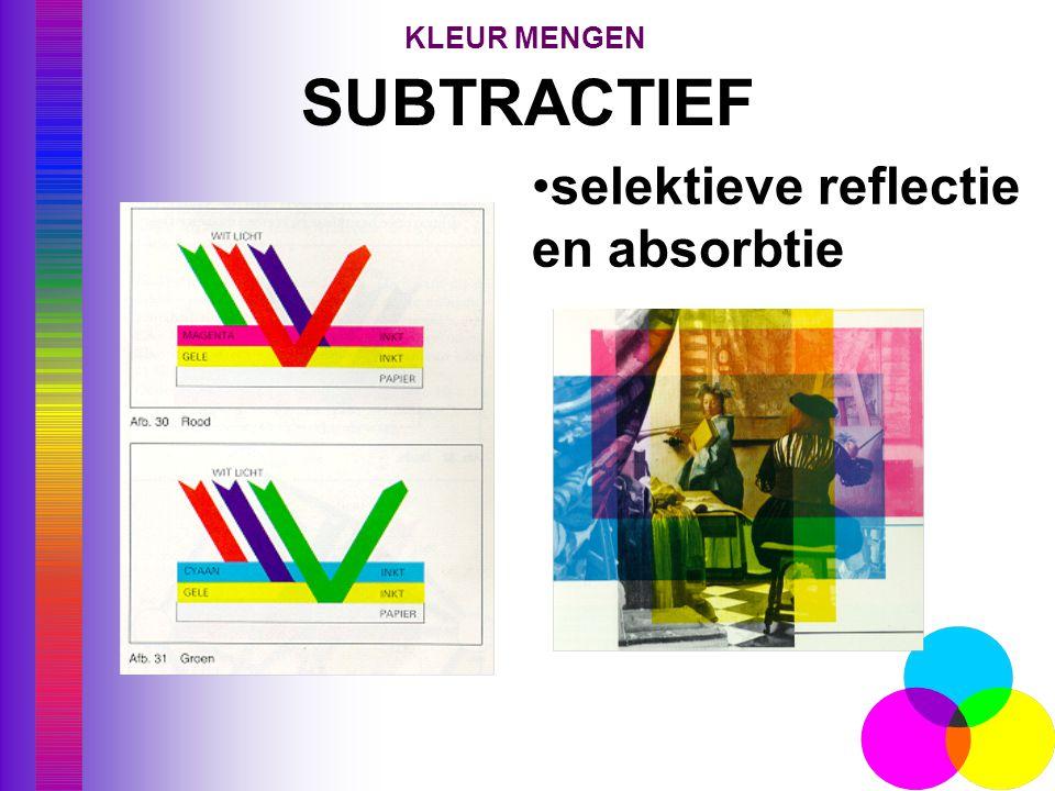 KLEUR MENGEN SUBTRACTIEF selektieve reflectie en absorbtie