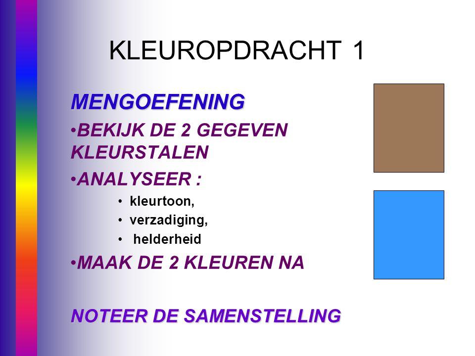 KLEUROPDRACHT 1 MENGOEFENING BEKIJK DE 2 GEGEVEN KLEURSTALEN