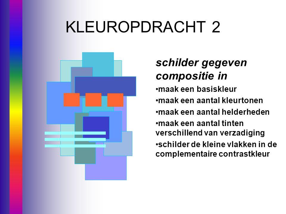 KLEUROPDRACHT 2 schilder gegeven compositie in maak een basiskleur