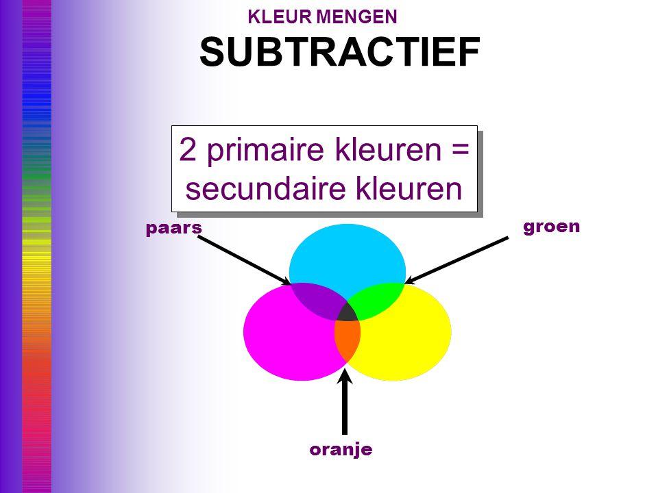 SUBTRACTIEF 2 primaire kleuren = secundaire kleuren KLEUR MENGEN paars