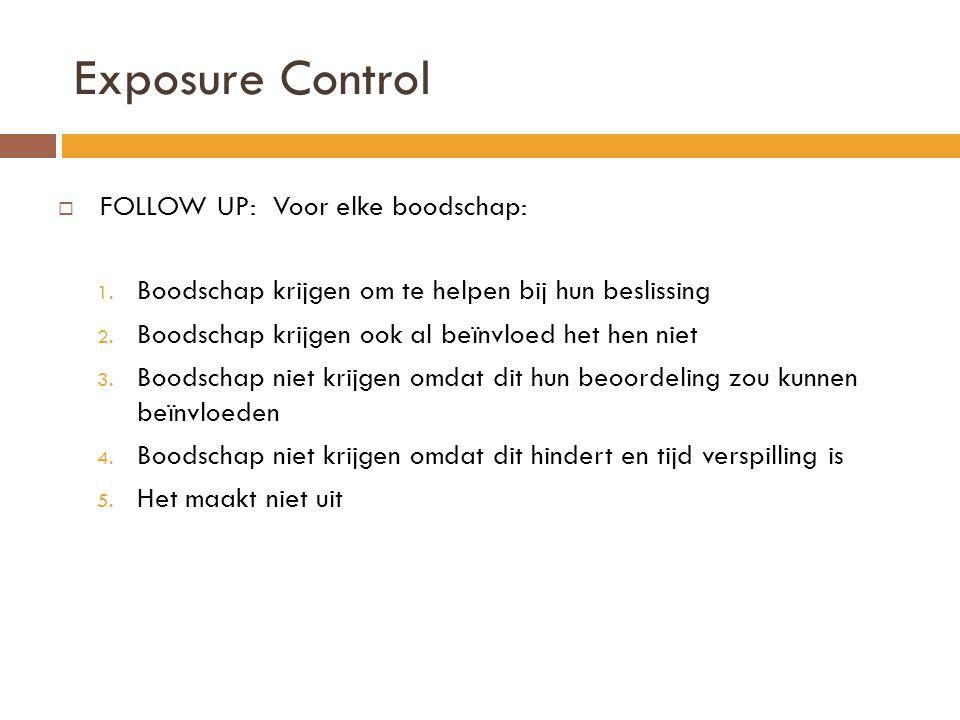Exposure Control FOLLOW UP: Voor elke boodschap: