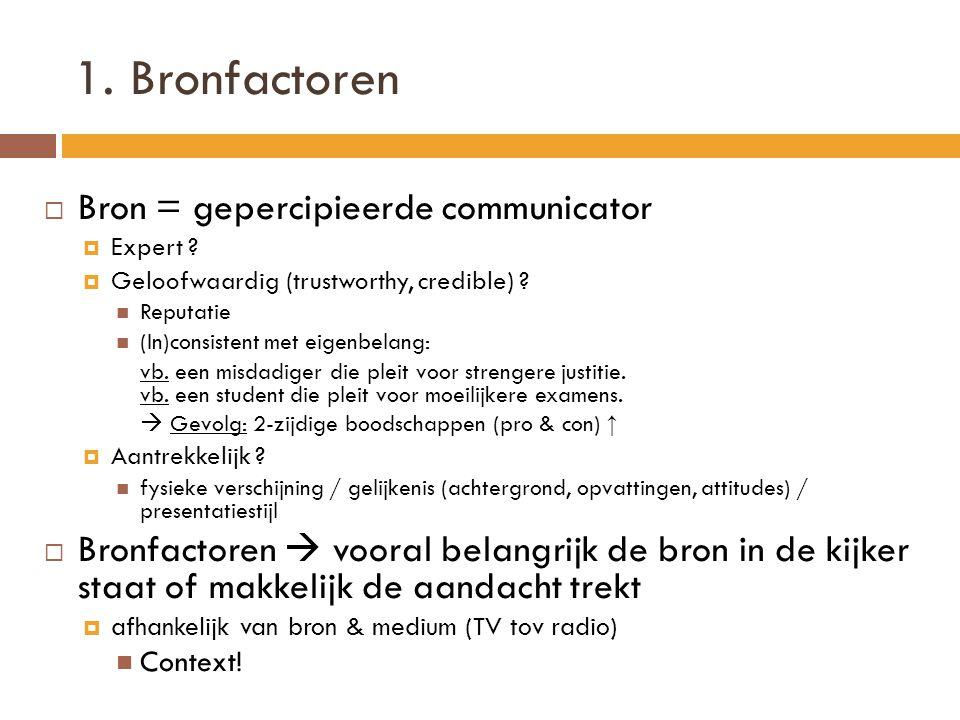 1. Bronfactoren Bron = gepercipieerde communicator