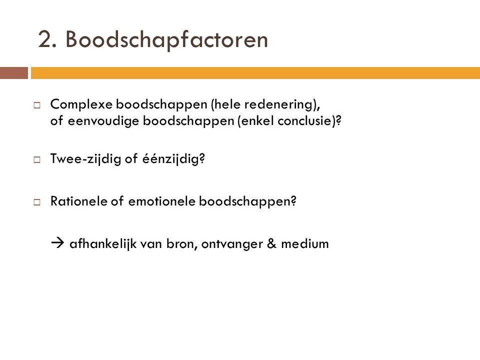 2. Boodschapfactoren Complexe boodschappen (hele redenering), of eenvoudige boodschappen (enkel conclusie)